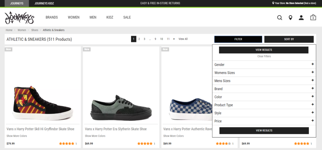 Search filters on Journeys site