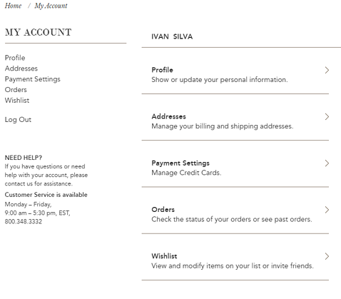 account page preview for customer benefts. profile, adddresses, payment settings, orders, wishlist