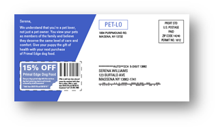 Example of the back of a postcard for direct mail marketing